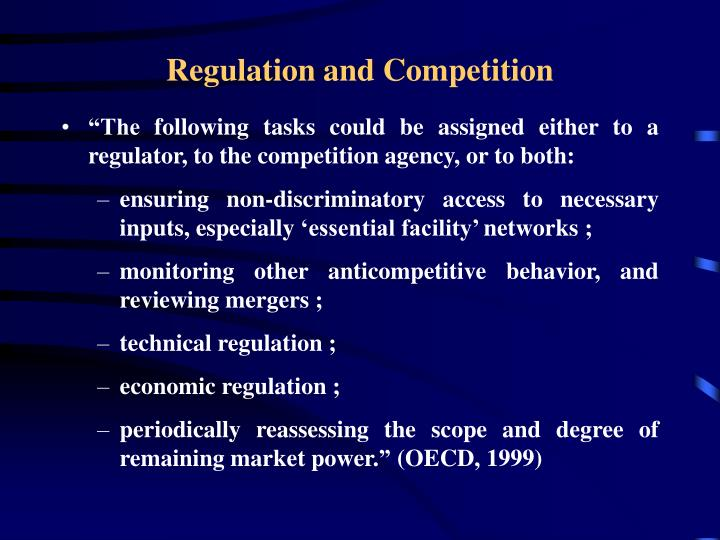 regulation and competition Introduction the master's degree in economics, regulation and competition in public services provides specialized training in the professional area of economics.