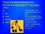 those she leaves behind at the kennels are destroyed 21 four days 79