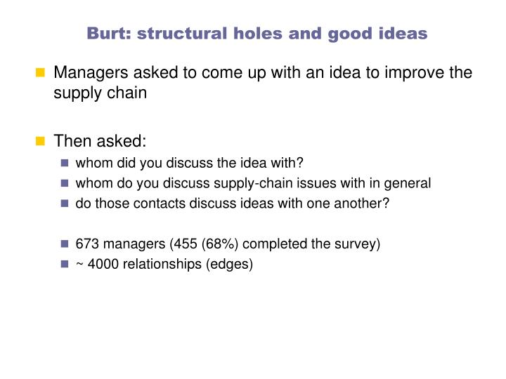 Burt: structural holes and good ideas