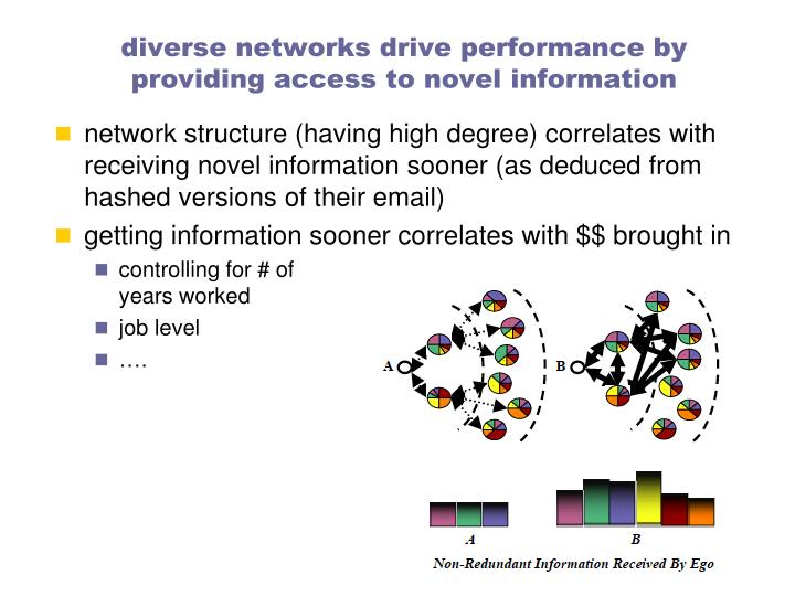 diverse networks drive performance by providing access to novel information