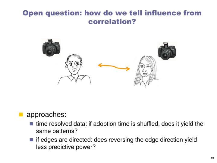 Open question: how do we tell influence from correlation?