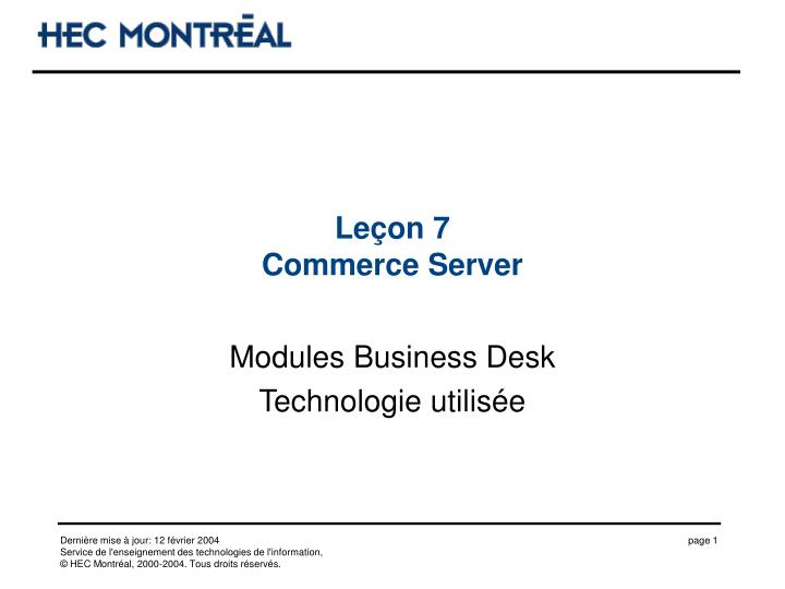 Le on 7 commerce server