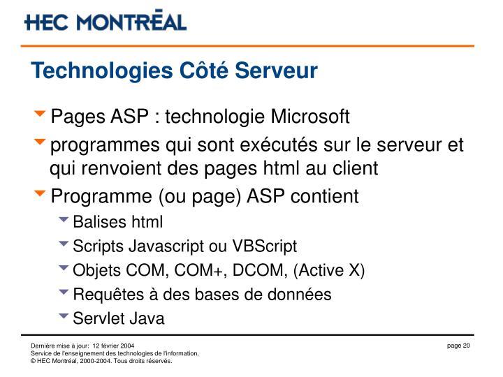 Technologies Côté Serveur