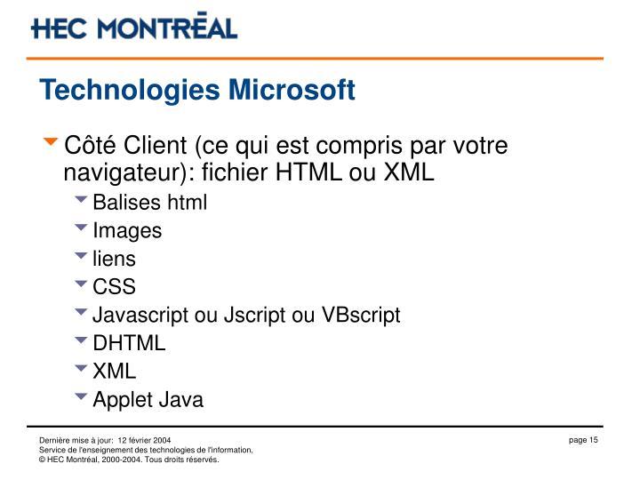Technologies Microsoft