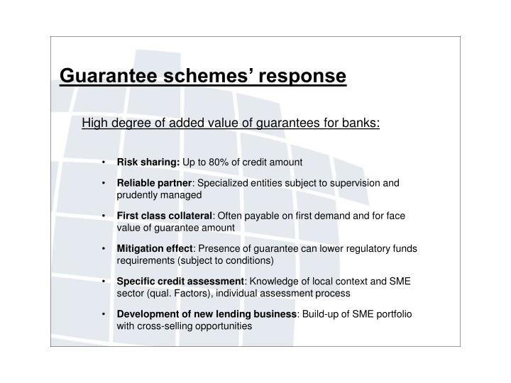Guarantee schemes' response