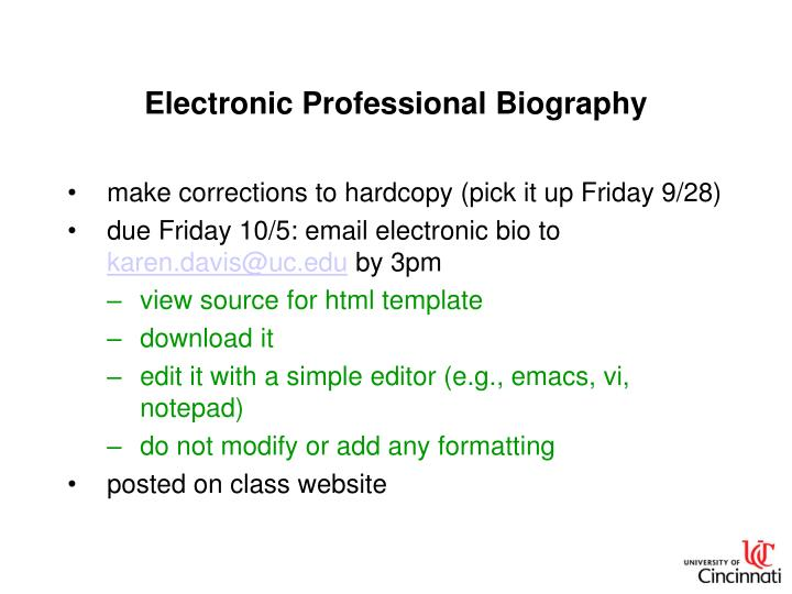 Electronic Professional Biography