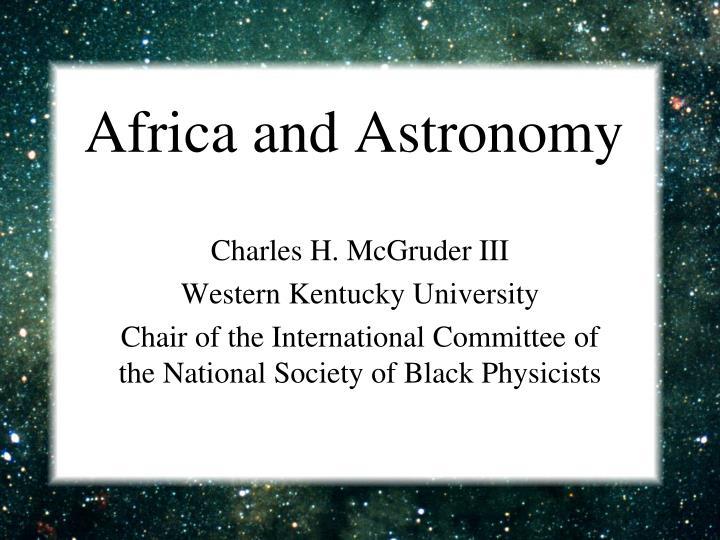 Africa and astronomy