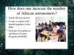 how does one increase the number of african astronomers