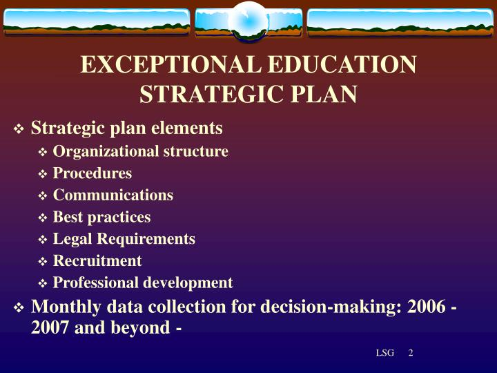 Exceptional education strategic plan