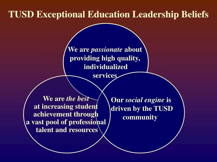 Tusd exceptional education leadership beliefs