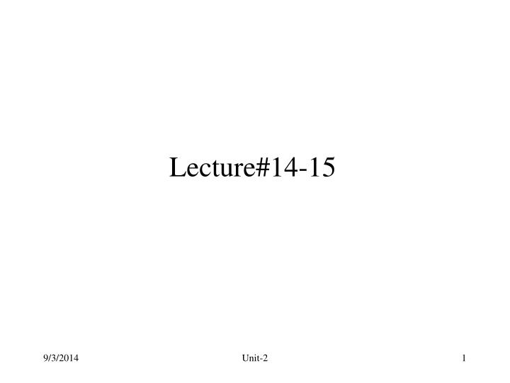 Lecture#14-15