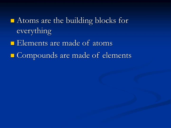 Atoms are the building blocks for everything
