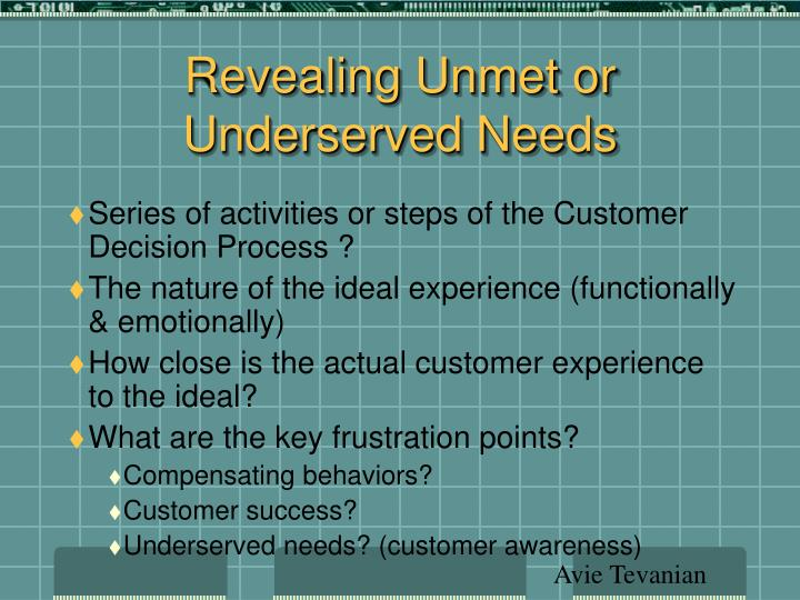 Revealing Unmet or Underserved Needs