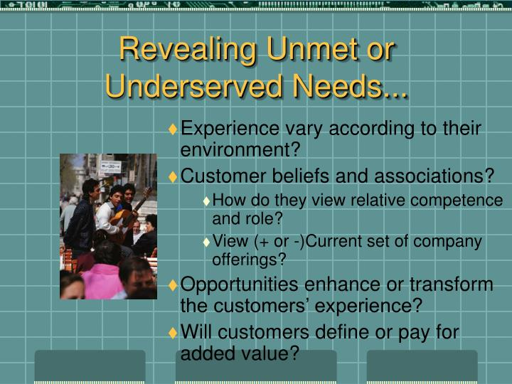 Revealing Unmet or Underserved Needs...