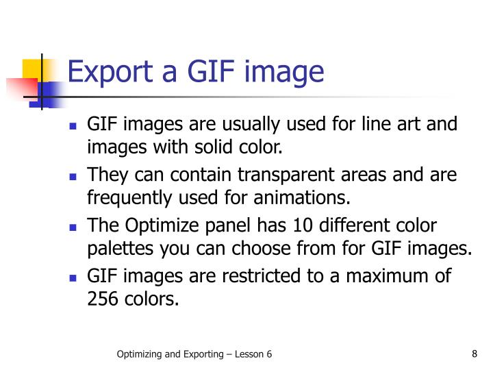 Export a GIF image