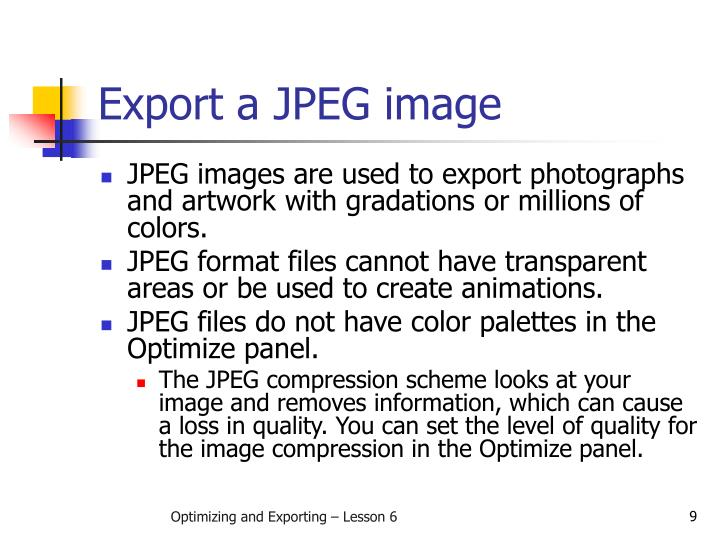 Export a JPEG image