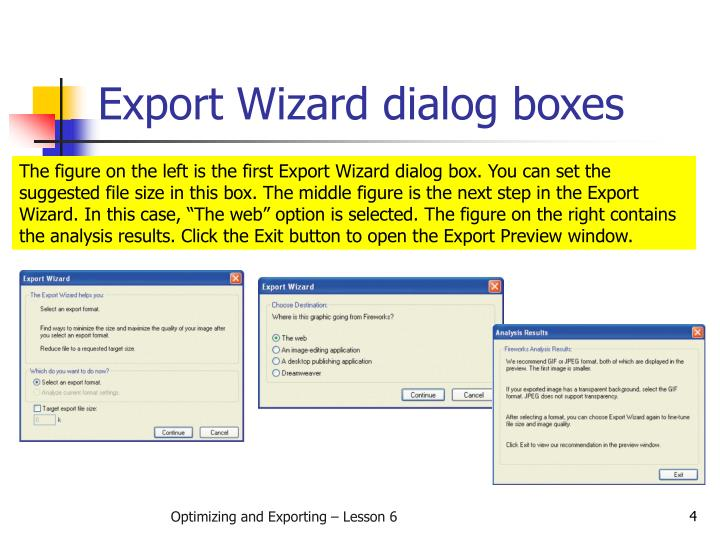 Export Wizard dialog boxes