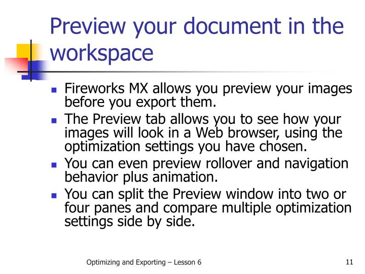 Preview your document in the workspace