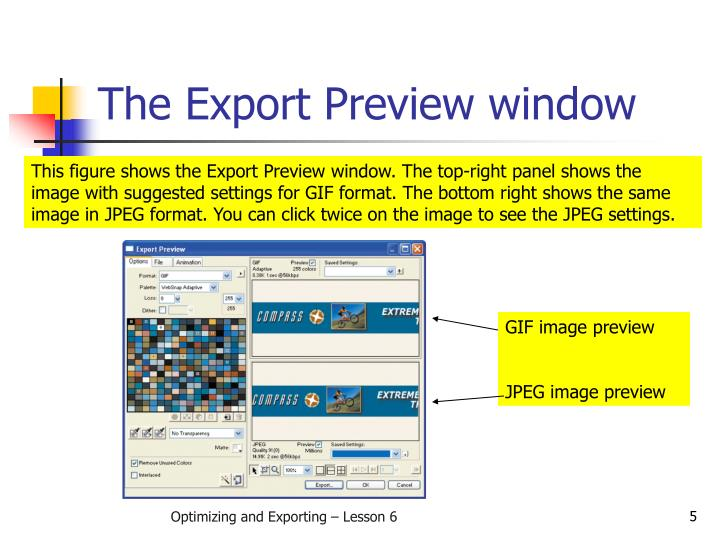 The Export Preview window
