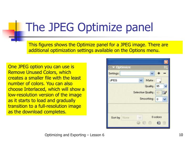 The JPEG Optimize panel
