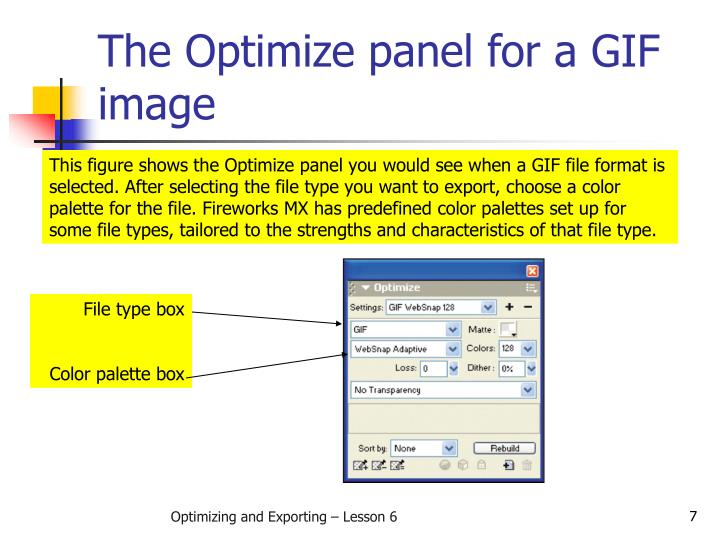 The Optimize panel for a GIF image