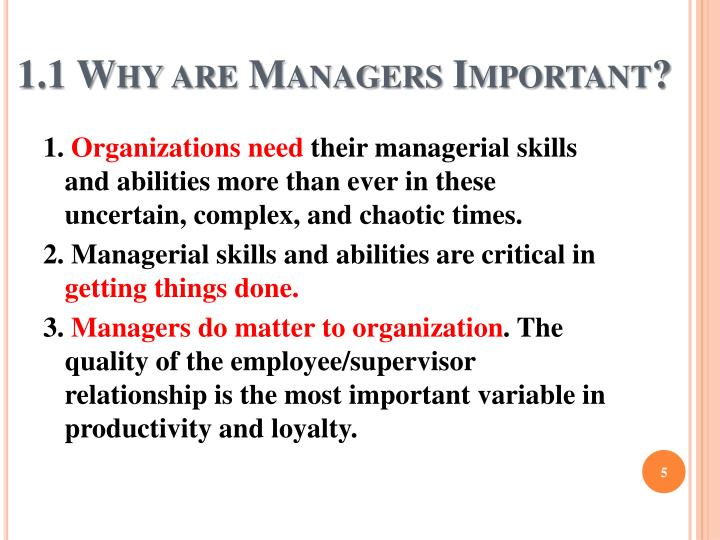 1.1 Why are Managers Important?