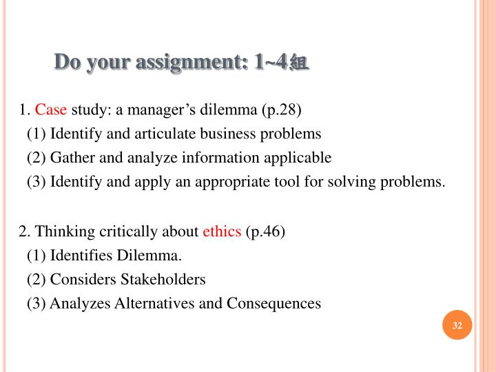 Do your assignment: 1~4