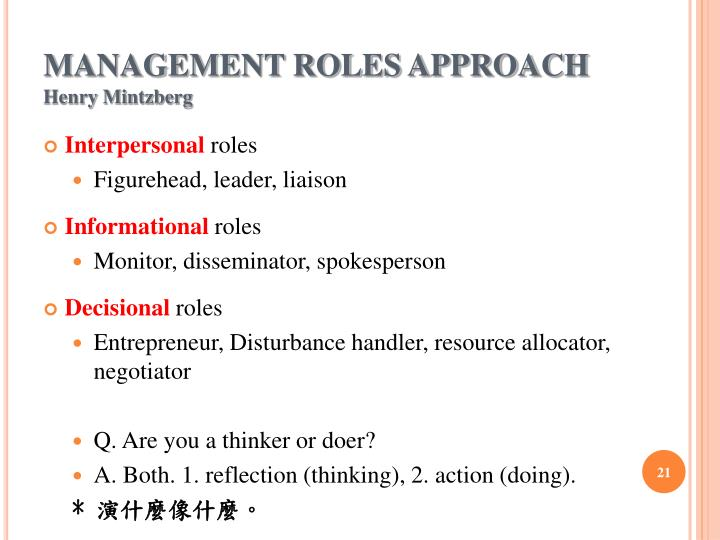 MANAGEMENT ROLES APPROACH