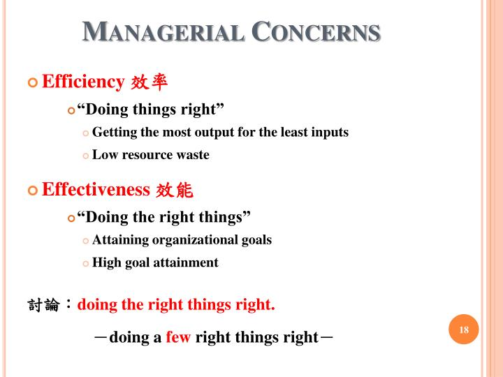Managerial Concerns