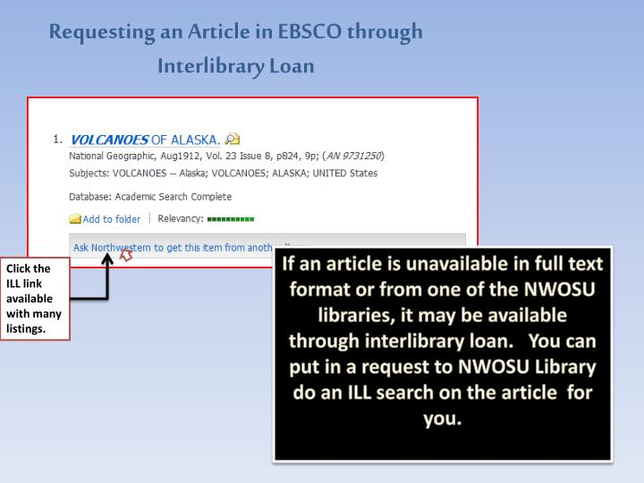 Requesting an Article in EBSCO through Interlibrary Loan