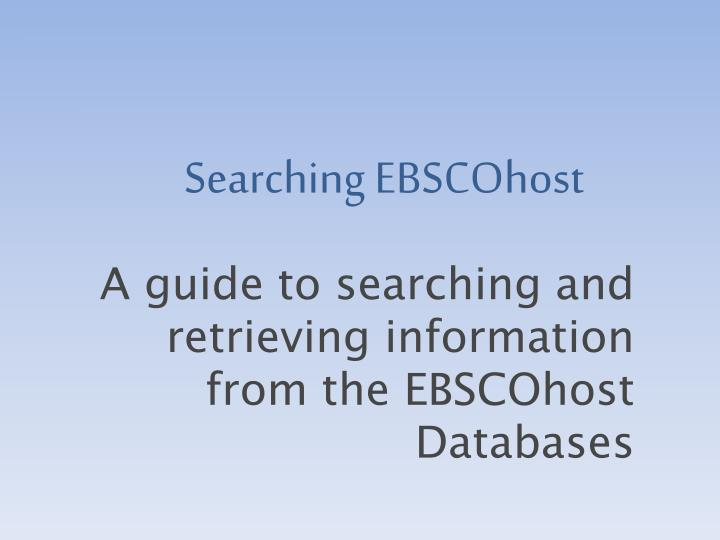 Searching ebscohost