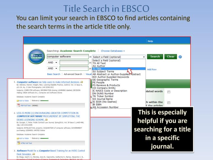Title Search in EBSCO