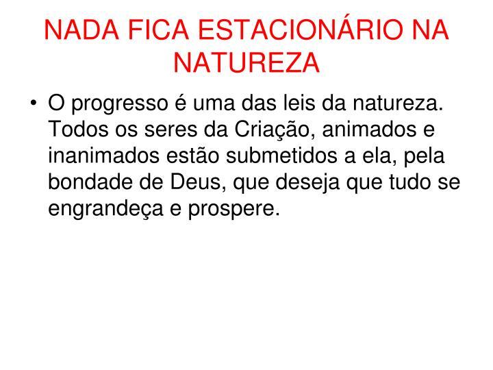 NADA FICA ESTACIONÁRIO NA NATUREZA