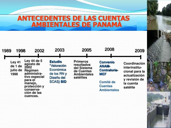 ANTECEDENTES DE LAS CUENTAS AMBIENTALES DE PANAMÁ