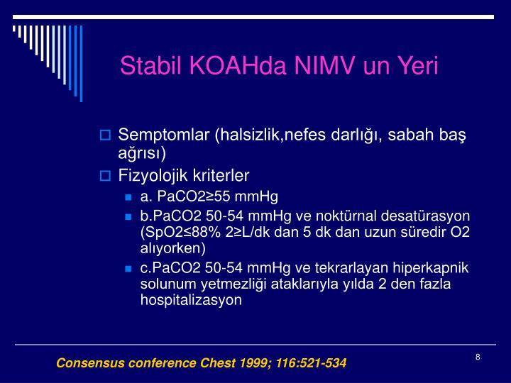 Stabil KOAHda NIMV un Yeri