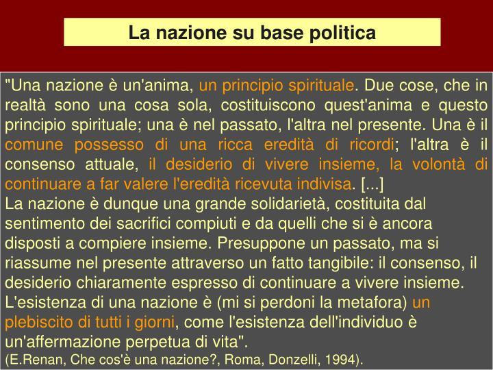 La nazione su base politica