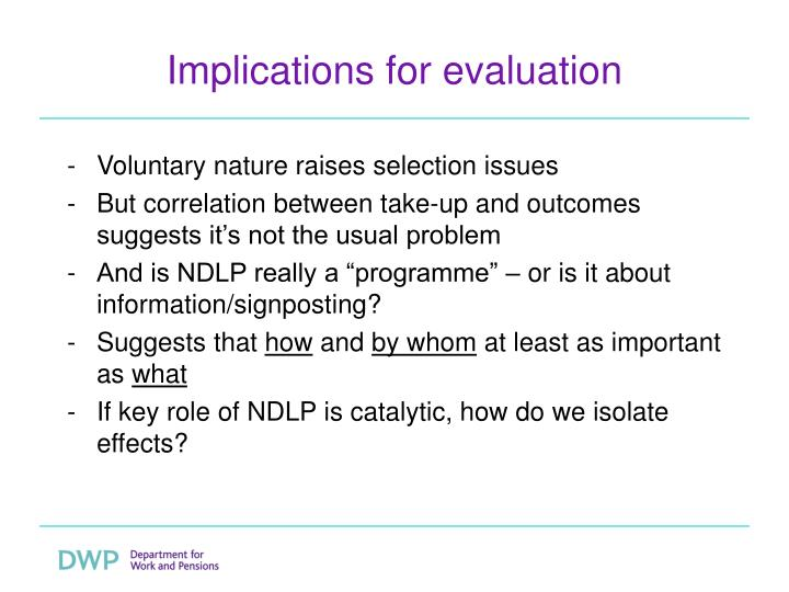 Implications for evaluation