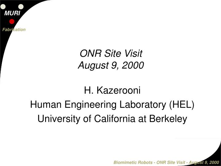 H kazerooni human engineering laboratory hel university of california at berkeley