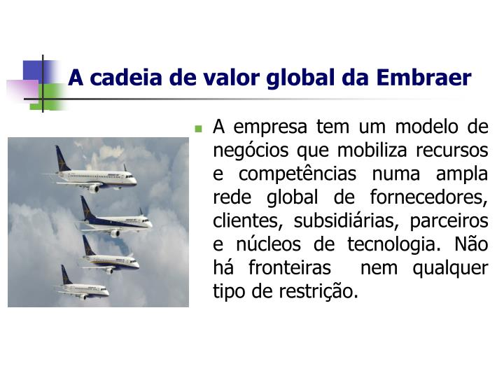A cadeia de valor global da Embraer