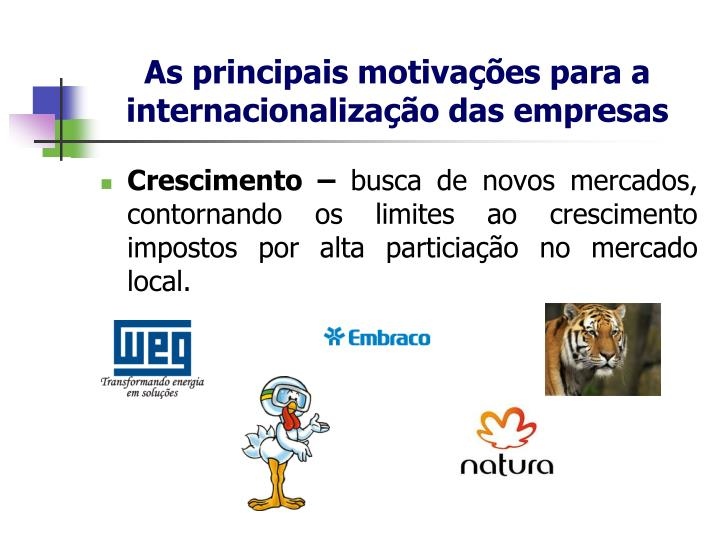 As principais motivações para a internacionalização das empresas