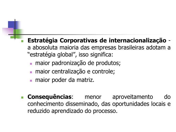 Estratégia Corporativas de internacionalização