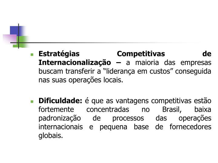 Estratégias Competitivas de Internacionalização –