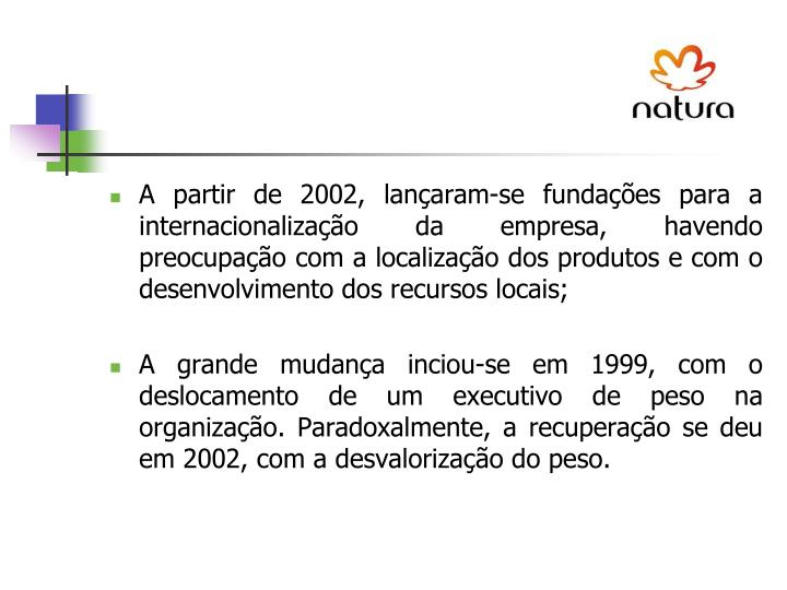 A partir de 2002, lançaram-se fundações para a internacionalização da empresa, havendo preocupação com a localização dos produtos e com o desenvolvimento dos recursos locais;
