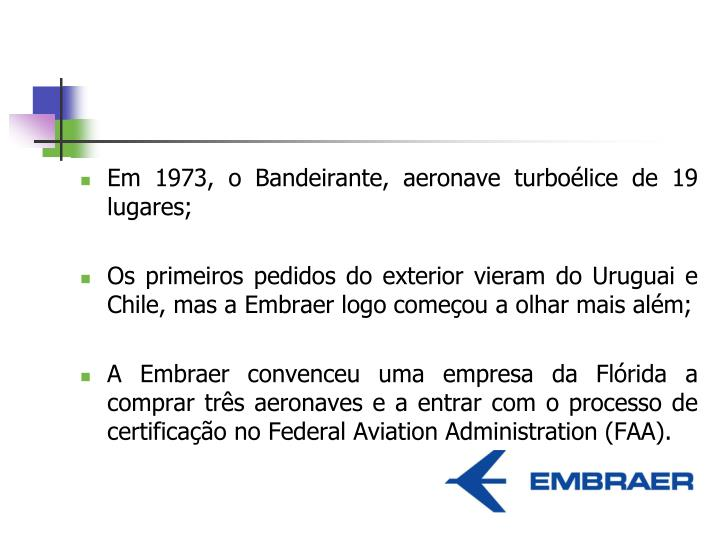 Em 1973, o Bandeirante, aeronave turboélice de 19 lugares;