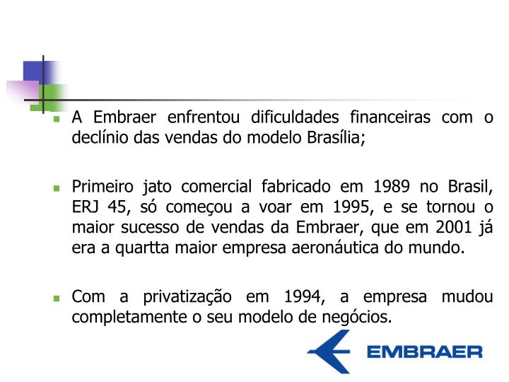 A Embraer enfrentou dificuldades financeiras com o declínio das vendas do modelo Brasília;