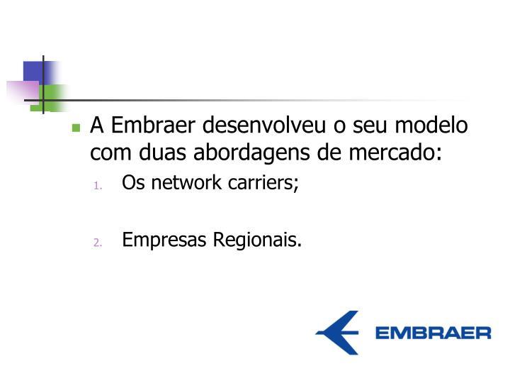 A Embraer desenvolveu o seu modelo com duas abordagens de mercado: