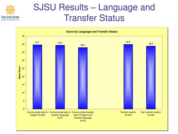 SJSU Results – Language and Transfer Status