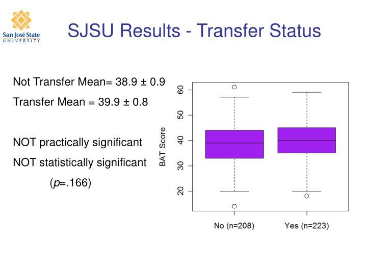SJSU Results - Transfer Status
