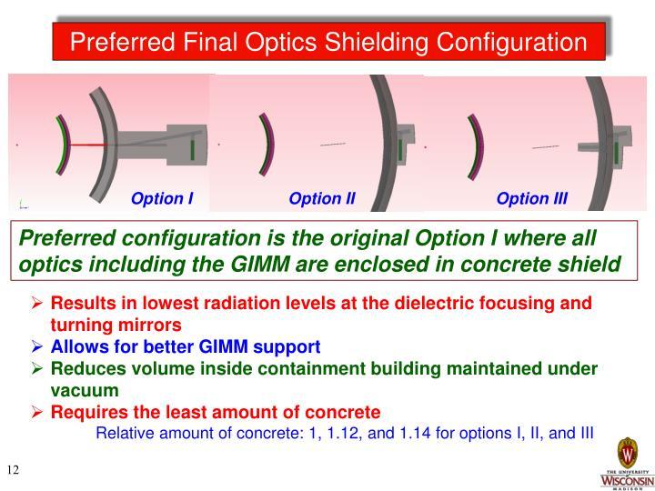 Preferred Final Optics Shielding Configuration