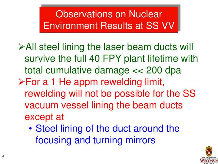 Observations on Nuclear Environment Results at SS VV